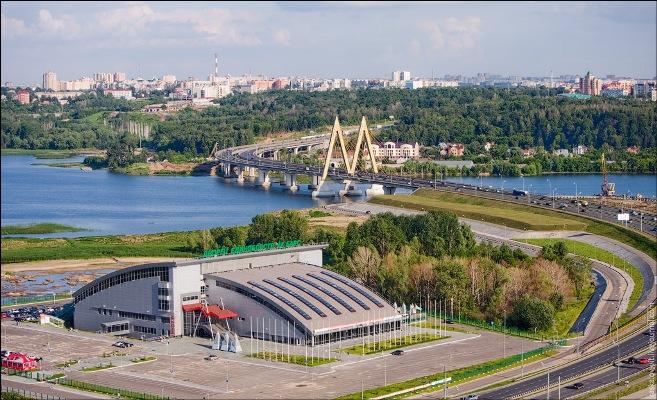 Дворец Единоборств и Миллениум - Казань с высоты