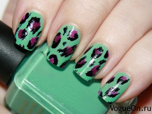 леопардовый маникюр зеленый