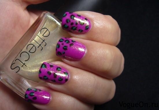 леопардовый маникюр фиолетовый