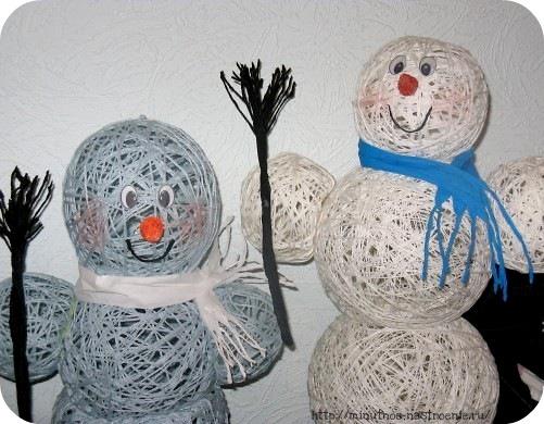 Снеговик из ниток шаг №10