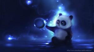 Забавные рисунки панда ночью