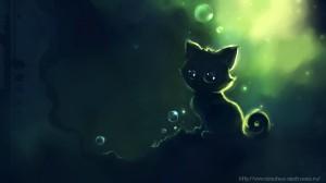 Забавные рисунки котенок ночью