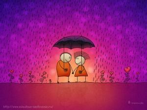 Забавные рисунки двое под одним зонтом романтика