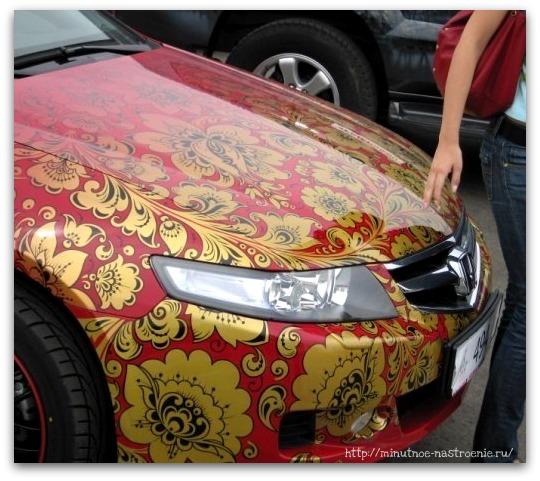Аэрография на автомобилях цветочный орнамент хохлома