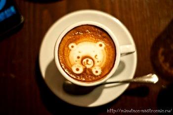 Красивые кофейные рисунки мишка