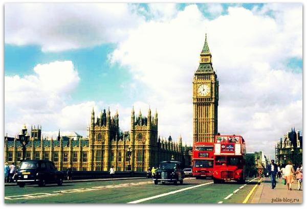 Англия, биг-бен и двухэтажные автобусы - фото