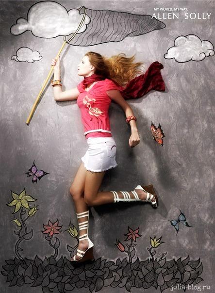 Фотографии Allen Solly девушка с сачком ловит бабочек