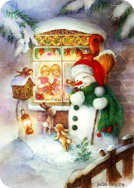 Новогодняя сказка - открытки снеговик у окна фото