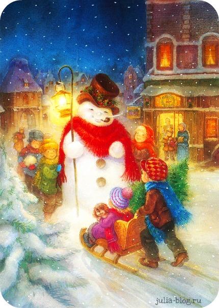 снеговик с детьми картинки