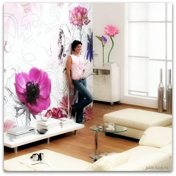 Виниловые цветы - стикеры на стену розовые маки на белой стене - фото