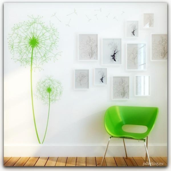 Виниловые цветы - стикеры на стену одуванчики фото