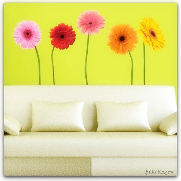 Виниловые цветы - стикеры на стену герберы фото
