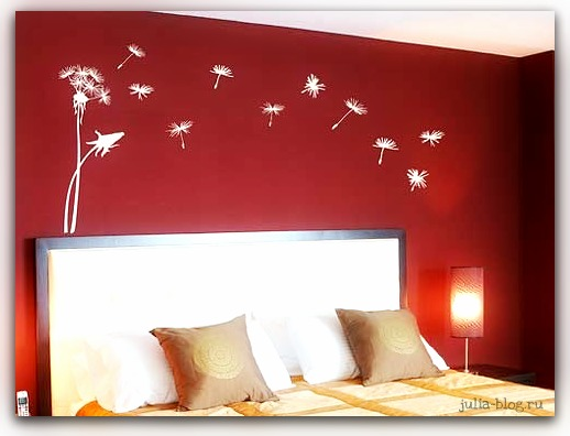 Виниловые цветы - стикеры на стену одуванчики