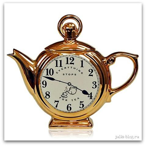 золотой чайник-часы фото
