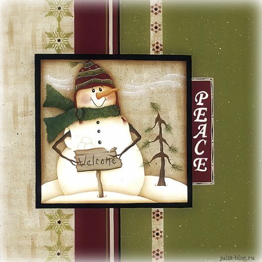 снеговик с елкой рисунок картинка