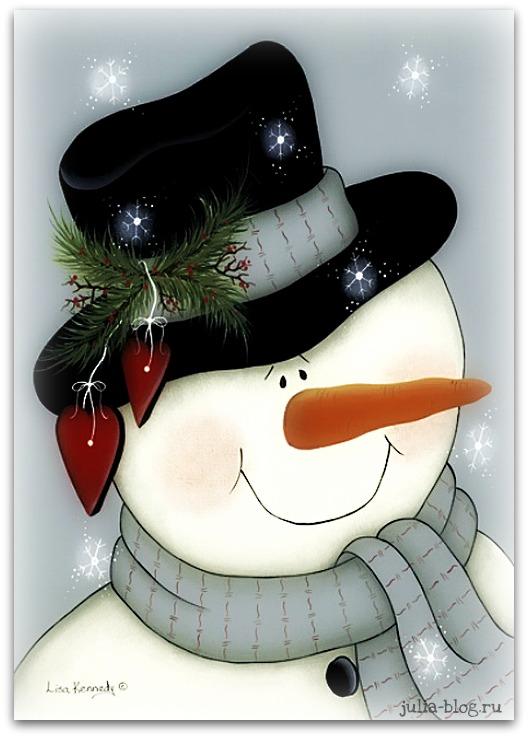 снеговик крупным планом рисунок