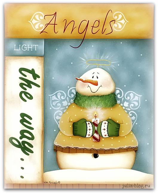 снеговик-ангел рисунок