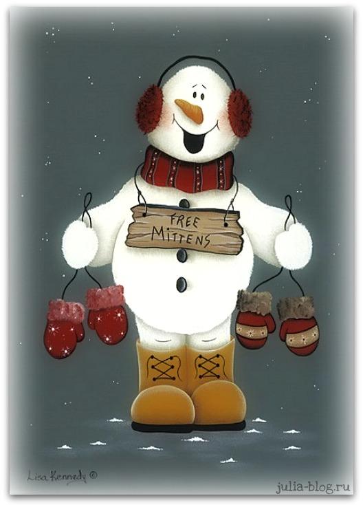 снеговик в наушниках и варежками