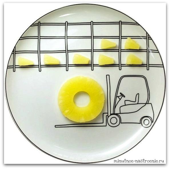 Креативные тарелки для детей ананас на прицепе фото картинка