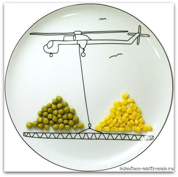 Креативные тарелки для детей горошек и кукуруза на подъемниках