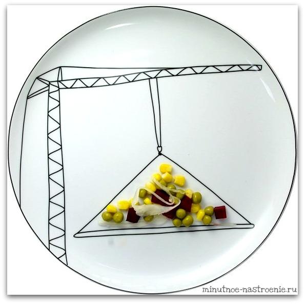 Креативные тарелки для детей овощи на грузоподъемнике фото рисунок