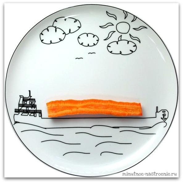 Креативные тарелки для детей морковка на барже рисунок картинка фото