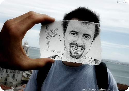 «Pencil VS Camera» от Ben Heine портрет мужчины с феей на плече