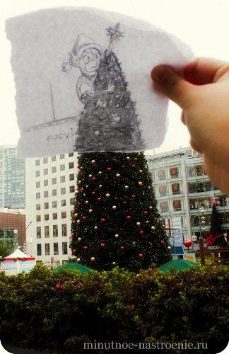 «Pencil VS Camera» от Ben Heine обезьяна на елке