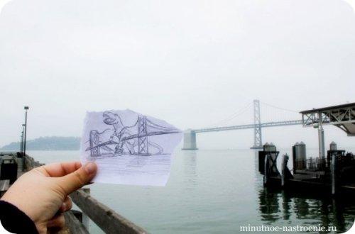 «Pencil VS Camera» от Ben Heine годзилла ломает мост