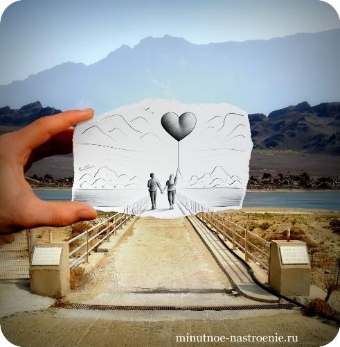 «Pencil VS Camera» от Ben Heine парень с девушкой и шаром сердце