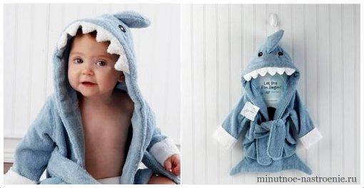 детский креативный халат для мальчиков голубая акула