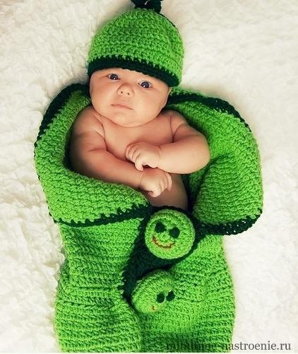 шерстяной кокон для детей зеленый