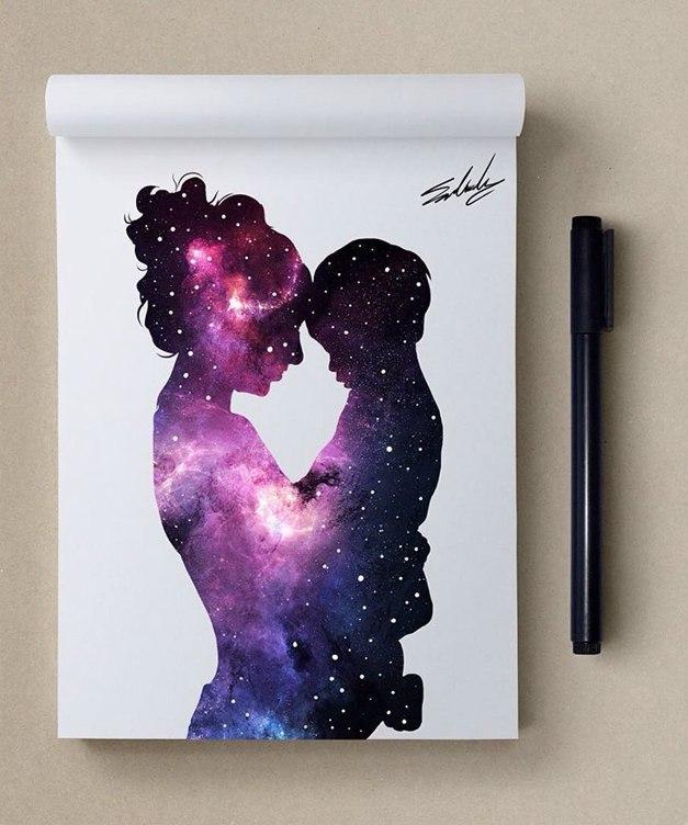 космос, рисунок, девушка, Космические рисунки,  Muhammed Salah, Мохамед Салах, нежность, трогательность