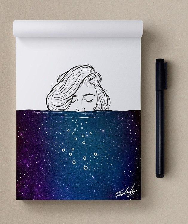 космос, рисунок, девушка, Космические рисунки,  Muhammed Salah, Мохамед Салах