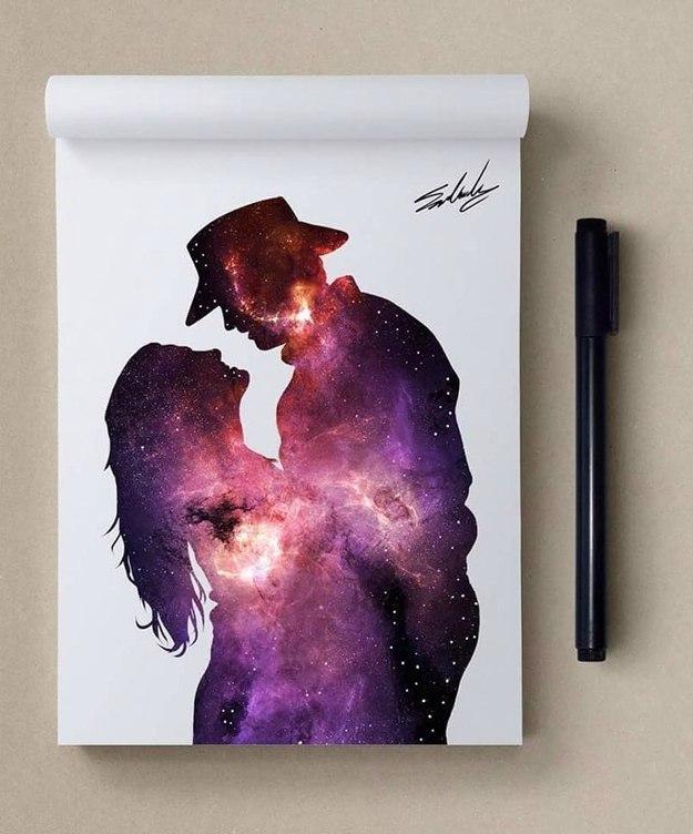 космос, рисунок, девушка, Космические рисунки,  Muhammed Salah, Мохамед Салах, танец, страсть, девушка с мужчиной