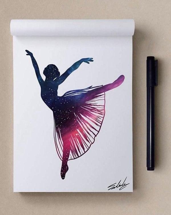 космос, рисунок, девушка, Космические рисунки,  Muhammed Salah, Мохамед Салах, балерина