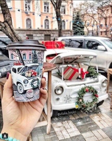 кофе, стакан, стаканы из под кофе, Виталия Бойко, рисунки на стаканах, творчество, город