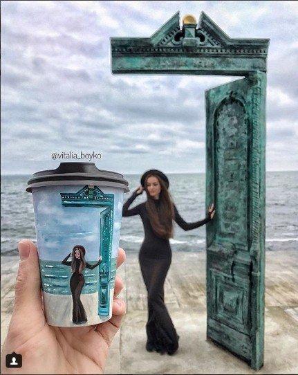 кофе, стакан, стаканы из под кофе, Виталия Бойко, рисунки на стаканах, творчество, набережная,  море