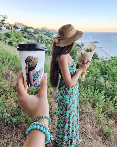 кофе, стакан, стаканы из под кофе, Виталия Бойко, рисунки на стаканах, творчество, девушка, море
