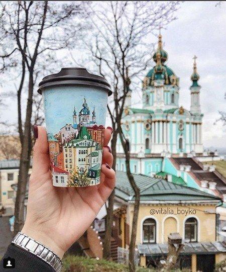 кофе, стакан, стаканы из под кофе, Виталия Бойко, рисунки на стаканах, творчество, город, собой