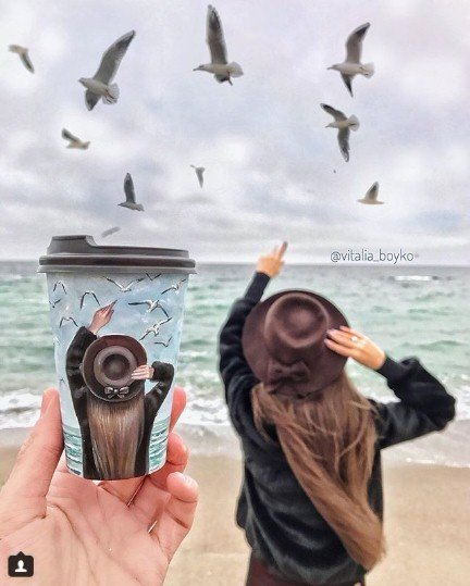 кофе, стакан, стаканы из под кофе, Виталия Бойко, рисунки на стаканах, творчество, море, девушка, шляпа