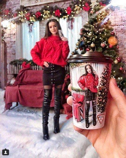кофе, стакан, стаканы из под кофе, Виталия Бойко, рисунки на стаканах, творчество, девушка, новый год