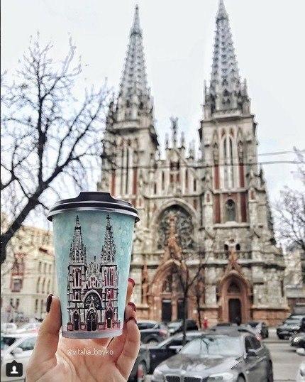 кофе, стакан, стаканы из под кофе, Виталия Бойко, рисунки на стаканах, творчество, город, замок
