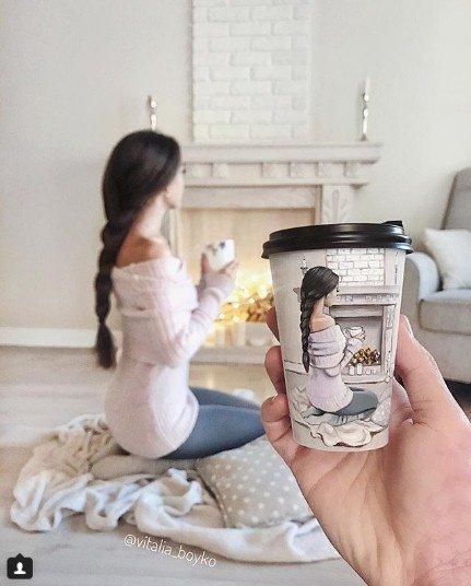кофе, стакан, стаканы из под кофе, Виталия Бойко, рисунки на стаканах, творчество, девушка, камин, нежность, милость. мимими