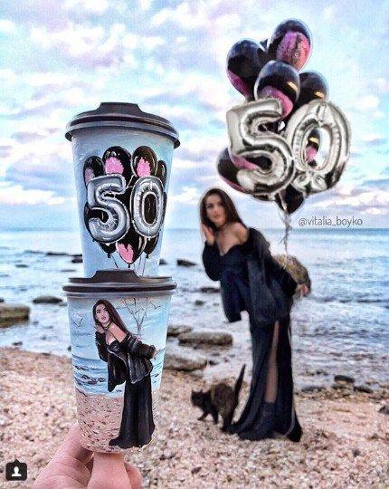 кофе, стакан, стаканы из под кофе, Виталия Бойко, рисунки на стаканах, творчество, девушка, море, шарики, праздник