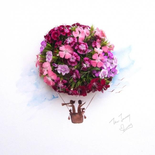 цветы, девушка, Limzy, акварель, воздушный шар