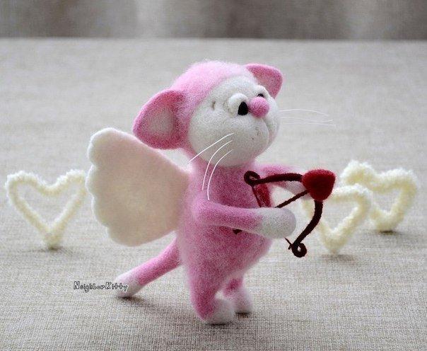 игрушки, валяные игрушки, валяшки, Елена Коверт, Коверт, розовый мышонок ангелочек