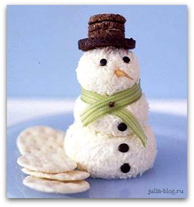 рецепт снеговика из сыра - фото