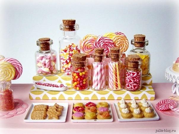 Кукольные десерты из глины фото