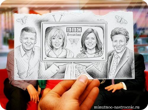 «Pencil VS Camera» от Ben Heine люди в телепередаче
